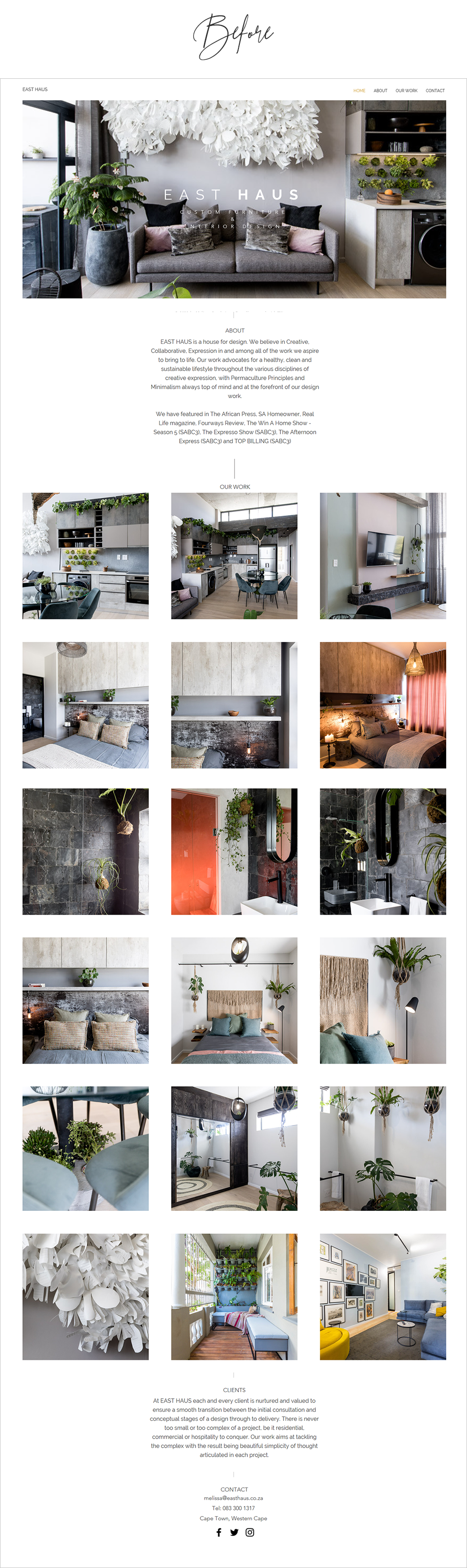 Before and After Website Redesigns - East Haus