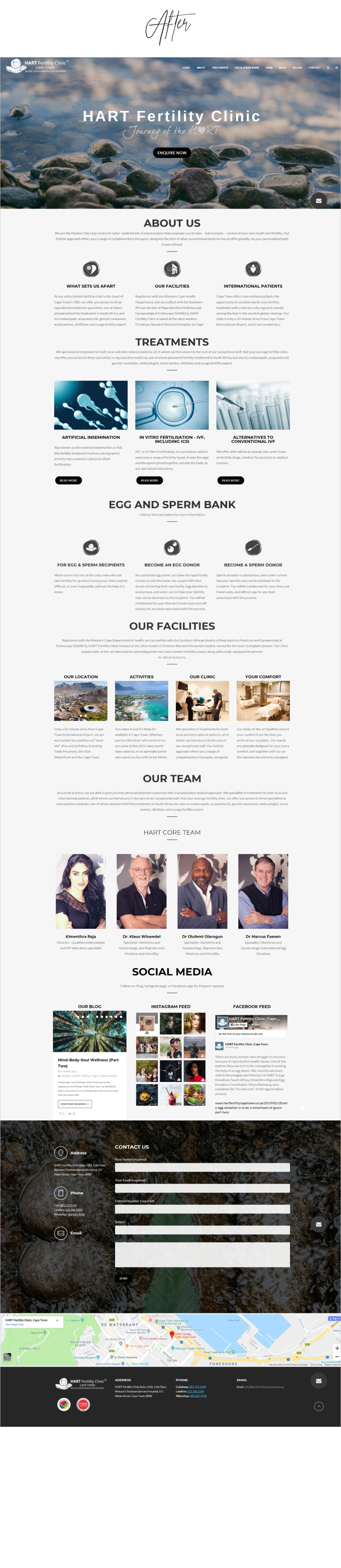 Before and After Website Redesigns - HART Fertility Cape Town