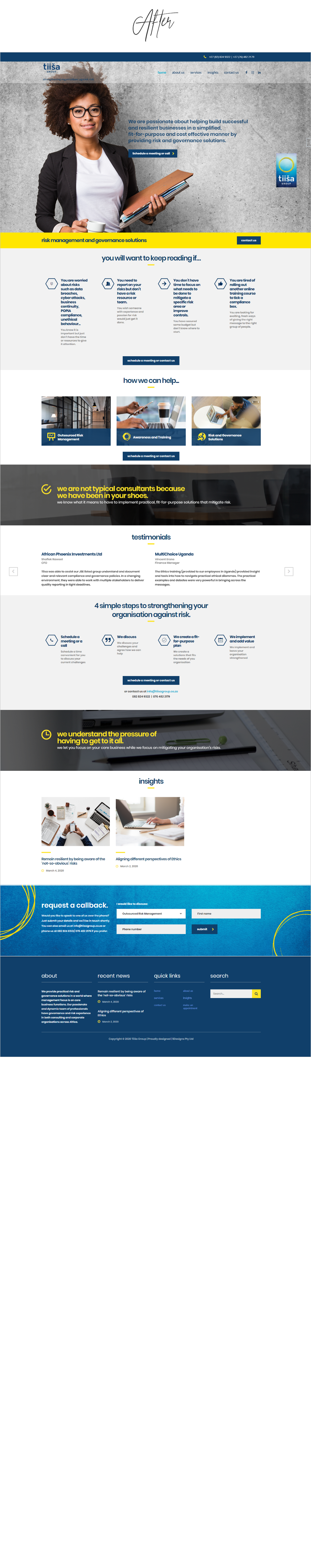 Before and After Website Redesigns - Tiisa Group